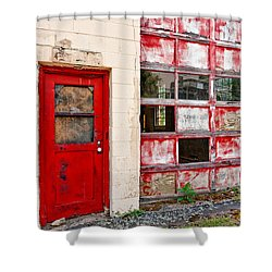 Shower Curtain featuring the photograph Retired Garage by Christopher Holmes