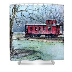 Shower Curtain featuring the painting Retired Red Caboose by Retta Stephenson