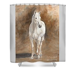 Retired Thoroughbred Race Horse Rustic Shower Curtain