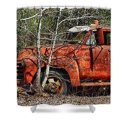 Retired With No Place To Go Shower Curtain by Laura Ragland