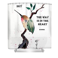 Retreat With Buddha Quote Shower Curtain