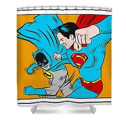 Shower Curtain featuring the digital art Retro Batman V Superman by Antonio Romero