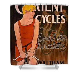 Shower Curtain featuring the photograph Retro Bicycle Ad 1890 by Padre Art