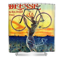 Shower Curtain featuring the photograph Retro Bicycle Ad 1898 by Padre Art