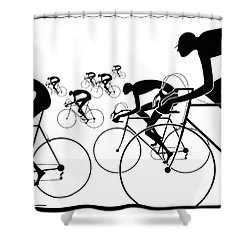 Shower Curtain featuring the photograph Retro Bicycle Silhouettes 1986 by Padre Art