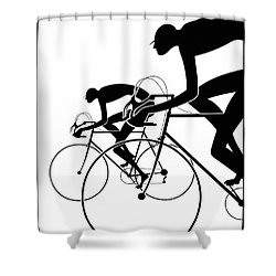 Shower Curtain featuring the photograph Retro Bicycle Silhouettes 2 1986 by Padre Art