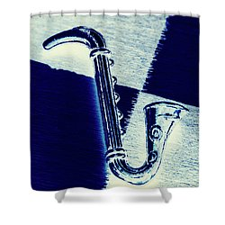 Retro Blues Shower Curtain