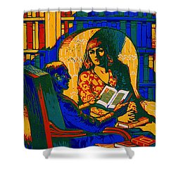 Shower Curtain featuring the photograph Retro Books Poster 1920 by Padre Art
