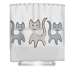 Retro Cat Graphic In Grays Shower Curtain