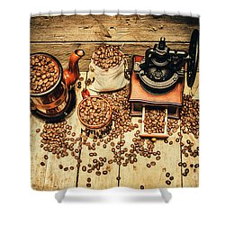 Retro Coffee Bean Mill Shower Curtain