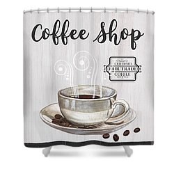 Shower Curtain featuring the painting Retro Coffee Shop 1 by Debbie DeWitt
