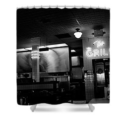Retro Diner In Athens, Georgia -black And White Shower Curtain