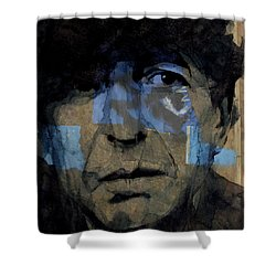 Retro- Famous Blue Raincoat  Shower Curtain by Paul Lovering
