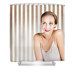 Retro Fashion Model Looking At Copyspace Shower Curtain by Jorgo Photography - Wall Art Gallery