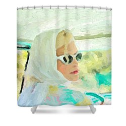 Shower Curtain featuring the digital art Retro Girl - Road Trip No.1 by Serge Averbukh