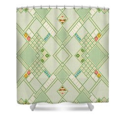 Retro Green Diamond Tile Vintage Wallpaper Pattern Shower Curtain by Tracie Kaska
