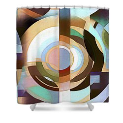 Retro Mod Brown And Blue Grapic Circle Pattern Shower Curtain
