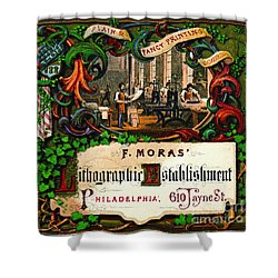 Shower Curtain featuring the photograph Retro Printing Ad 1867 by Padre Art
