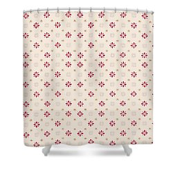 Retro Red Flower Gold Star Vintage Wallpaper Shower Curtain by Tracie Kaska