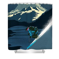 Retro Revelstoke Ski Poster Shower Curtain
