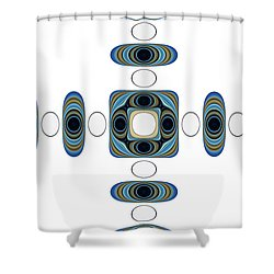Shower Curtain featuring the digital art Retro Shapes 2 by Fran Riley