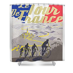 Retro Tour De France Shower Curtain
