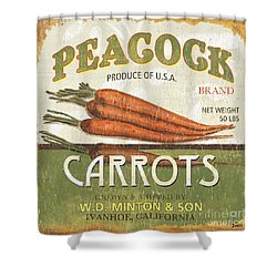 Retro Veggie Label 2 Shower Curtain by Debbie DeWitt