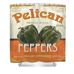 Retro Veggie Labels 3 Shower Curtain