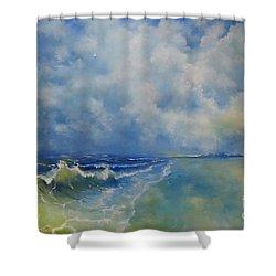 Retrospection Seascape Shower Curtain by Maja Sokolowska