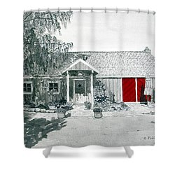 Retzlaff Winery With Red Door No. 2 Shower Curtain by Mike Robles