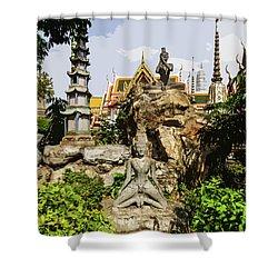 Reusi Dat Ton Statues At Wat Pho Shower Curtain