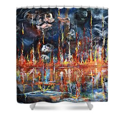 Shower Curtain featuring the painting Revelations 20_ 14-15 by Gary Smith