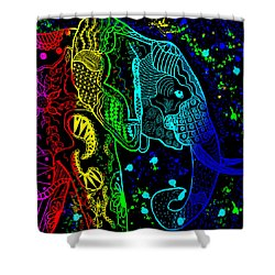 Rainbow Zentangle Elephant With Black Background Shower Curtain