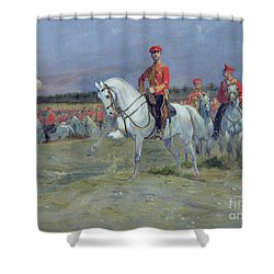 Reviewing The Troops Shower Curtain by Jean Baptiste Edouard Detaille