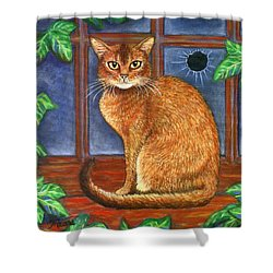 Rex The Cat Shower Curtain by Linda Mears
