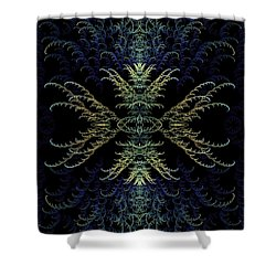 Rhapsody In Blue And Gold Shower Curtain by Lea Wiggins