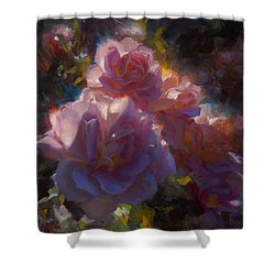 Shower Curtain featuring the painting Rhapsody Roses - Flowers In The Garden Painting by Karen Whitworth