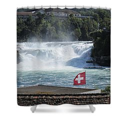 Shower Curtain featuring the photograph Rhine Falls In Switzerland by Travel Pics