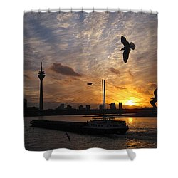 Duesseldorf, Rhine River Sunset Shower Curtain