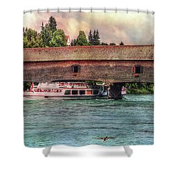 Shower Curtain featuring the photograph Rhine Shipping by Hanny Heim