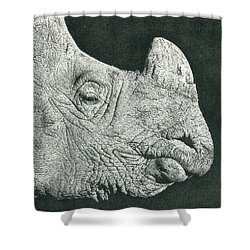 Rhino Pencil Drawing Shower Curtain