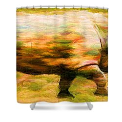 Rhinocerace Shower Curtain by Caito Junqueira