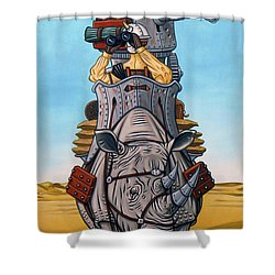 Shower Curtain featuring the painting Rhinoceros Riders by Paxton Mobley