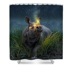 Rhinoceros Unicornis Shower Curtain