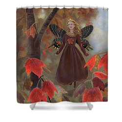 Shower Curtain featuring the painting Rhiona In The Maple Tree by Nancy Lee Moran