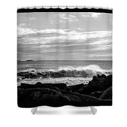 Shower Curtain featuring the photograph Rhode Island Rocks And Waves by Nancy De Flon
