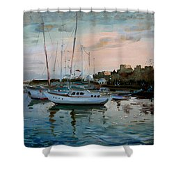Rhodes Mandraki Harbour Shower Curtain by Ylli Haruni