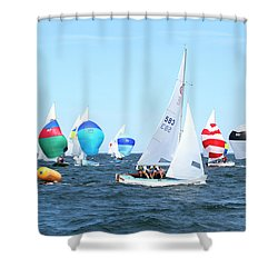 Shower Curtain featuring the photograph Rhodes Nationals Sailing Race Dennis Cape Cod by Charles Harden
