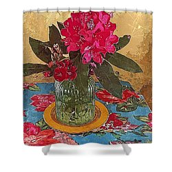 Shower Curtain featuring the digital art Rhododendron by Alexis Rotella