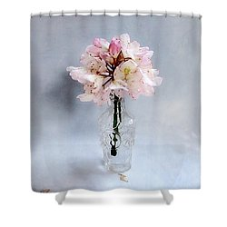 Rhododendron Bloom In A Glass Bottle Shower Curtain by Louise Kumpf